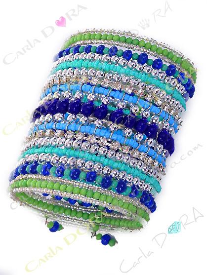 bracelet femme hippie chic bleu vert argent, bracelet tendance femme