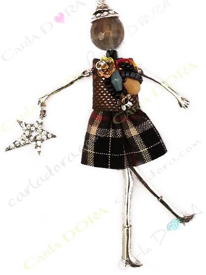 collier fantaisie charms poupee sautoir fashion tissu a carreaux, bijou fantaisie sautoir femme mode