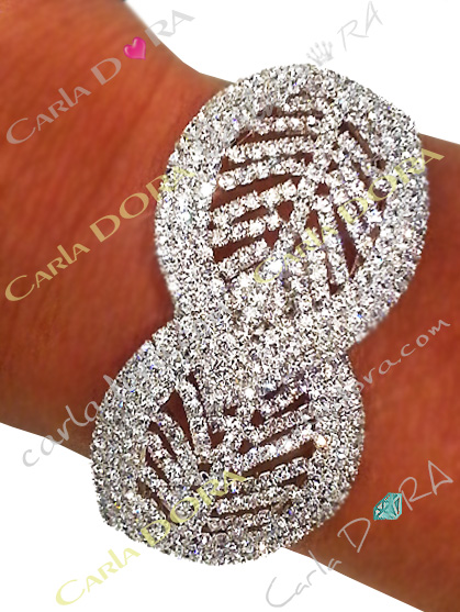 bracelet de soiree strass blancs, mode bracelets bijoux strass tendance fermeture aimantee
