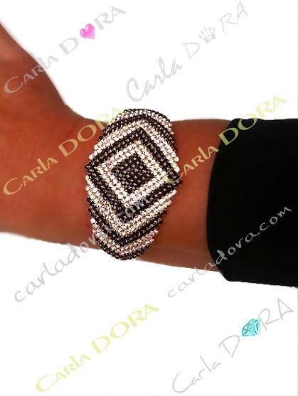 bracelet de soiree strass noir et blanc,