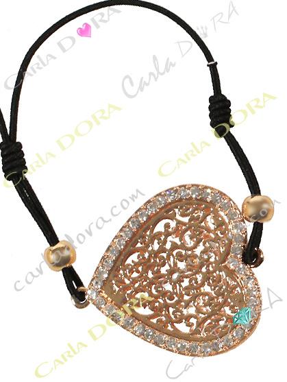 bracelet coeur cisele arabesque doree, bracelet coeur or et strass
