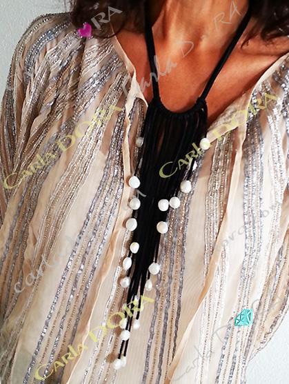 collier cascade de perles et de lanieres, collier souple perles culture