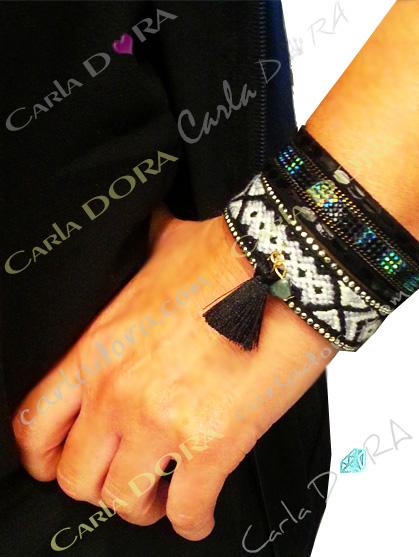 bracelet bresilien aimante noir et blanc pompon,mode bracelets bijoux bresiliens tendance