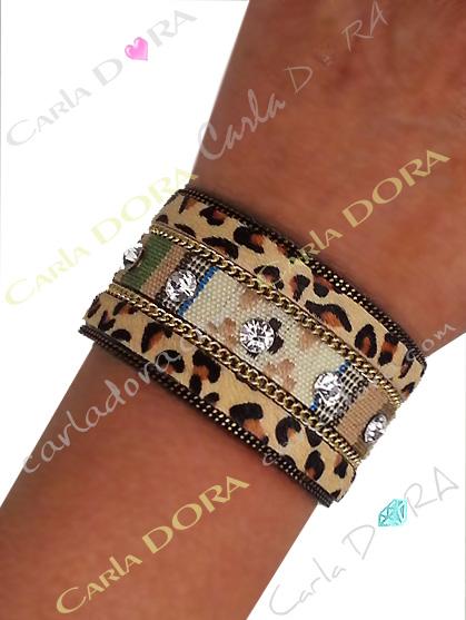 bracelet manchette panthere chaine et strass, bracelet poulain imprime panthere chic strass