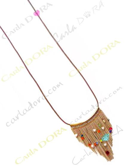 collier sautoir beige pampilles chaines et perles - bijou sautoir femme hippie chic
