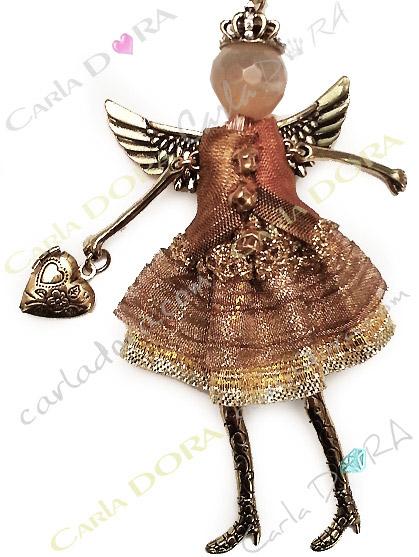 sautoir collier fantaisie poupee or ailes d
