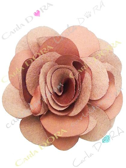 barrette fantaisie tissu 2 en 1 fleur beige
