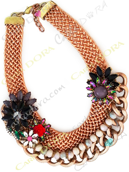 collier fantaisie de soiree fleurs cristal et chaine, collier fantaisie fleurs cristal ultra chic