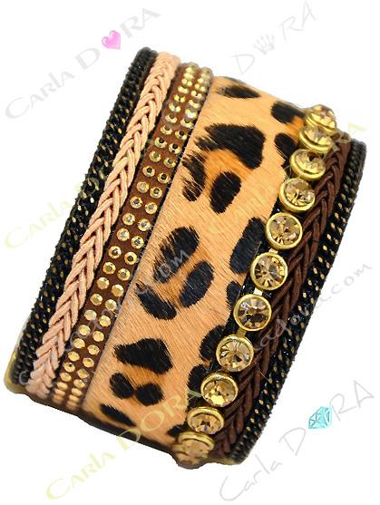 bracelet manchette leopard strass champagne, bracelet imprime panthere chic strass
