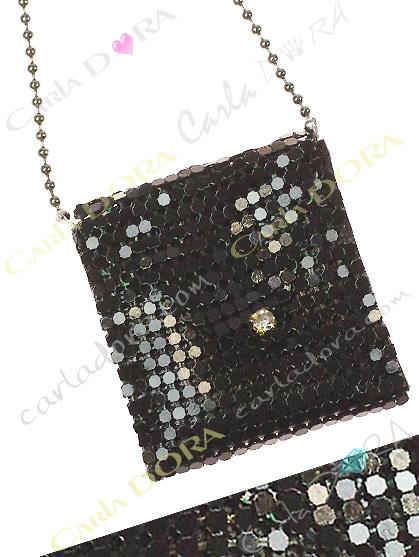 collier sautoir pochette metal cotte de maille noir strass blanc- bijou femme elegant et chic