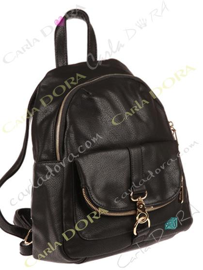 sac a dos noir pour femme boucle mousqueton et zip argent sac femme tendance