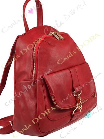 sac a dos  rouge sombre pour femme mousqueton et zip argent sac femme tendance