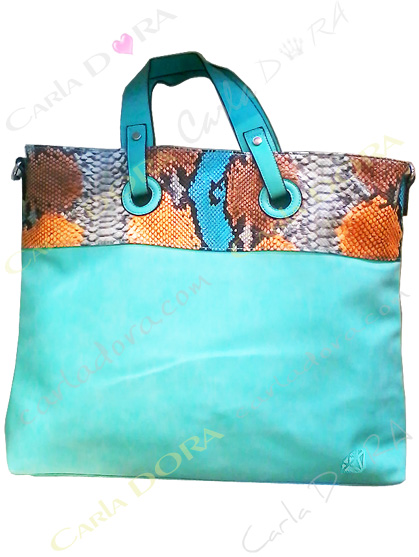sac cabas toile bleu turquoise imprime python