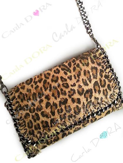 petit sac imprime panthere leopard cuir veritable et chaines