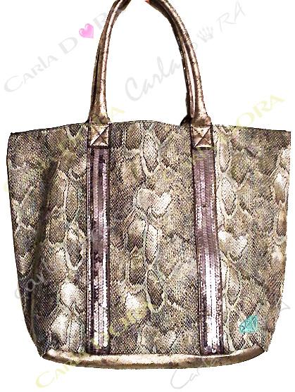 sac main femme python et paillettes sac shopping 2 en 1 porte epaule gris bleu argent