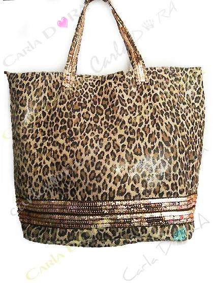 sac shopping cabas leopard - panthere camel et noir cuir veritable satine, sac shopping glamour paillettes cuivrees