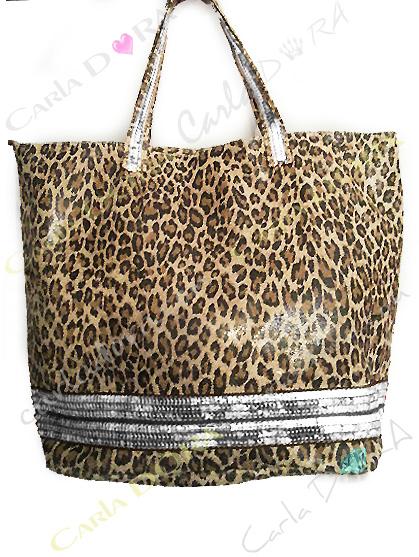 sac shopping cabas leopard - panthere camel et noir cuir veritable brillant, sac shopping tendance et glamour paillettes