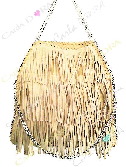 sac main femme a franges daim ivoire, sac femme hippie chic porte mains beige creme