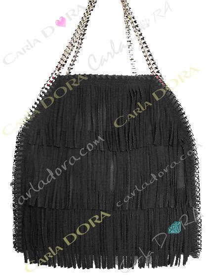 sac main femme a franges daim noir, sac femme hippie chic porte mains noir