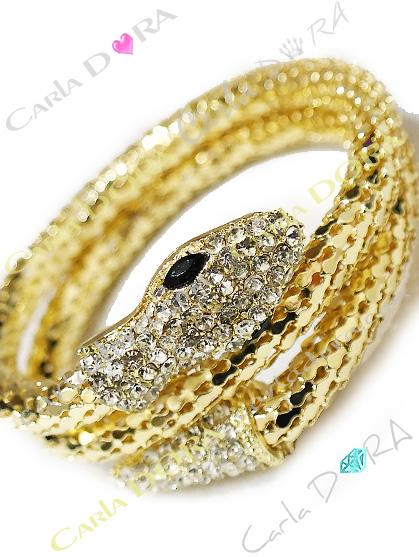 bracelet serpent or et strass