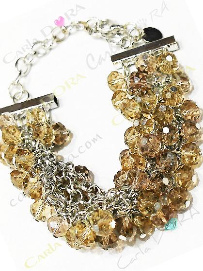 bracelet pampilles perles cristal a facettes multiples bronze mordore