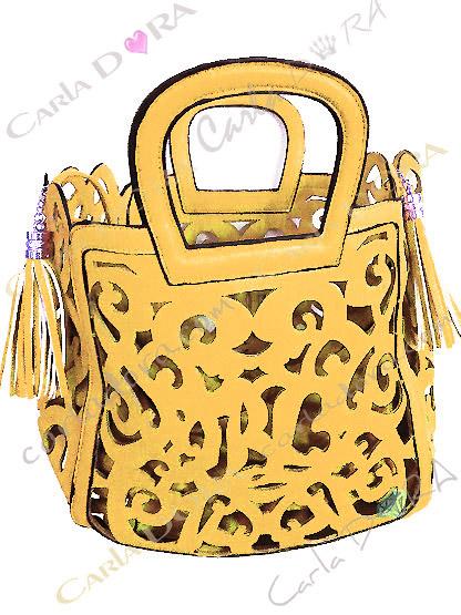 sac femme ajoure jaune soleil pompon, sac jaune femme sac a main ete arabesque ajoure