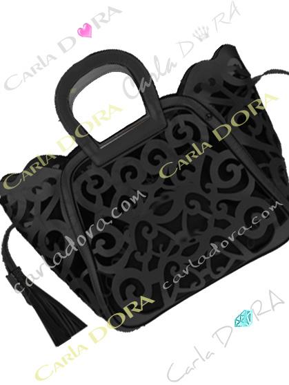 sac femme ajoure arabesque noir pompon, sac noir femme sac a main ete arabesque ajoure