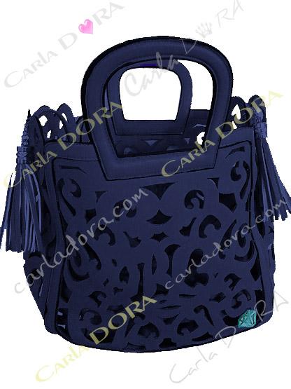sac femme bleu marine ajoure pompon, sac bleu marine femme sac a main ete arabesque ajoure