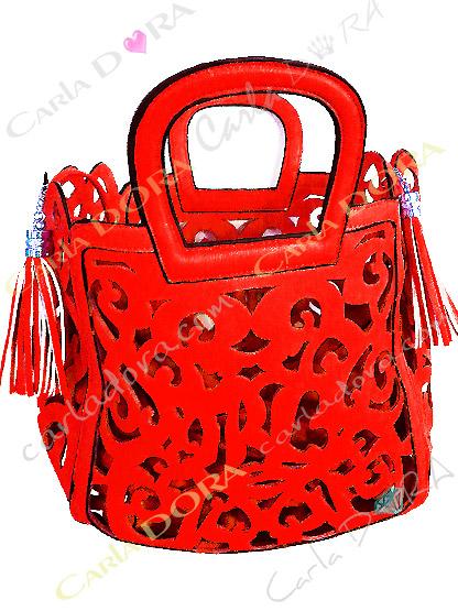 sac femme ajoure rouge corail pompon, sac jaune femme sac a main ete arabesque ajoure