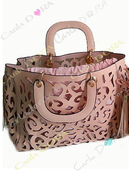 sac femme ajoure couleur rose poudre pompon, sac couleur rose poudre femme sac a main ete arabesque ajoure