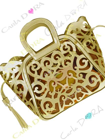 sac femme ajoure dore pompon, sac mode femme sac a main ete arabesque ajoure