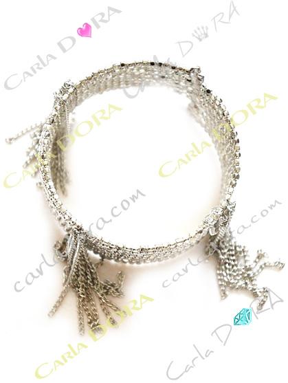bracelet manchette argent pampilles chainettes, bracelet multi-rangs hippie chic argent