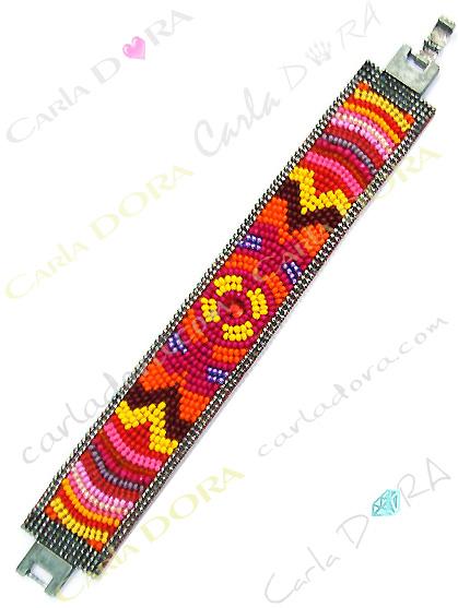 bracelet bresilien orange rouge et jaune, bijoux bracelet fantaisie femme