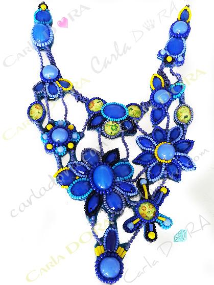 collier ras du cou a fleurs, collier fantaisie fleur