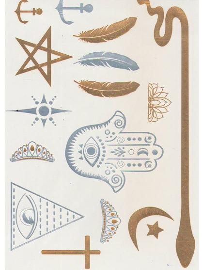 tatoo serpent plume main de fatma oeil illuminati  argent et or