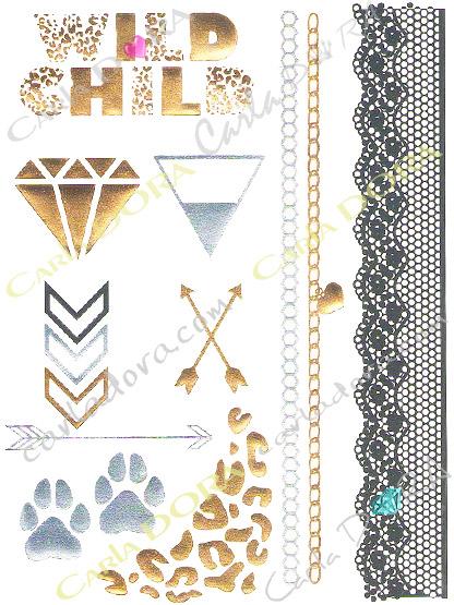 tattoo metal panthere dentelle diamant or argent, tatoo ephemere bijou de peau argent et or
