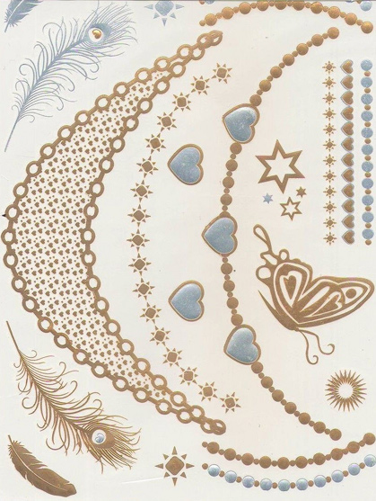 tatoo papillon ephemere bijou de peau argent et or