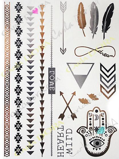 tatoo main fatma ephemere bijou de peau dore , kit tatouage temporaire main de fatma noir or argent