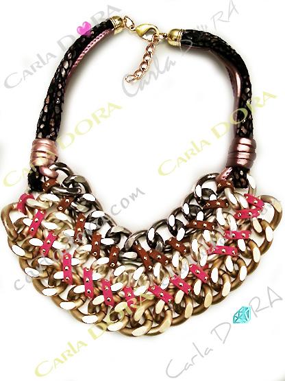 collier grosse chaine 3 rangs metal, bijoux fantaisie femme
