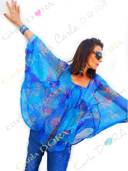 tunique femme voile  bleu lumineux motif palmier, top femme tunique grande taille plage a la mode