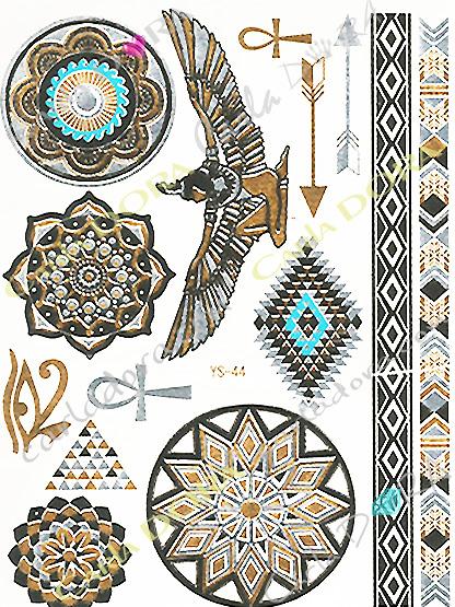tattoo fluorescent feuille or argent turquoise croix de vie bijou de peau feuille d