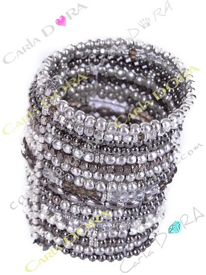 bracelet femme hippie chic argent gris strass, bracelet tendance femme