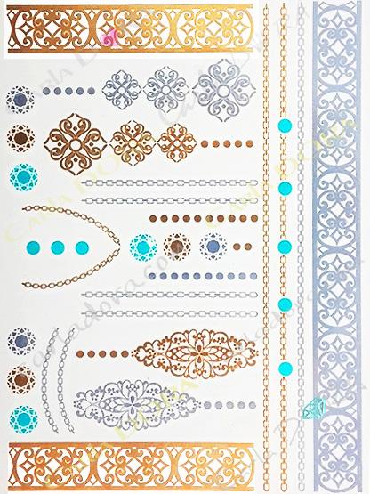 tattoo feuille or et bleu turquoise bijou de peau feuille d