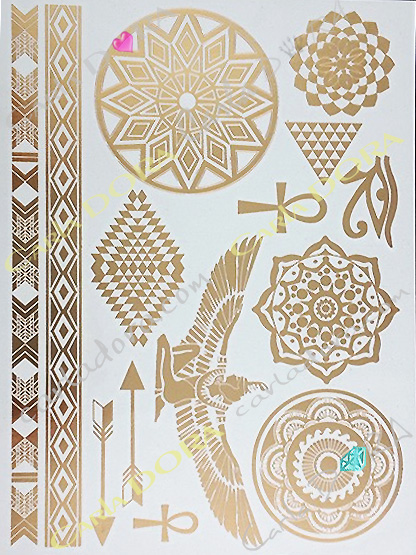 tattoo fluorescent nuit metal or croix de vie bijou de peau feuille d