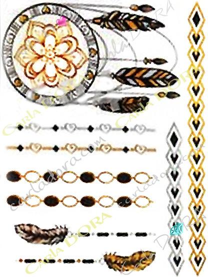 tattoo or et noir attrape reve tatto iroquois, bijoux ephemeres tatoo apache bijou tatouage plume bijou tattoo