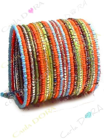 bracelet manchette femme hippie chic bleu corail or, bracelet tendance femme