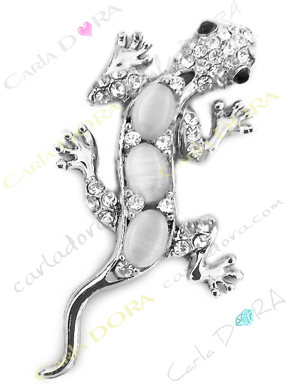 broche lezard metal argent strass, broche fantaisie animaux lezard salamandre metal brillant strass blanc