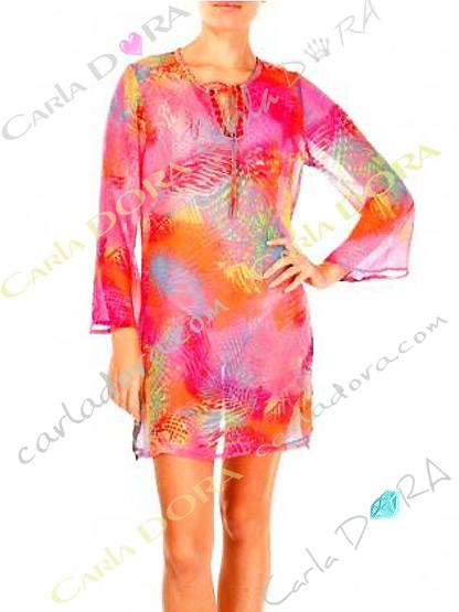 tunique femme voile leger multicolore fluo, top femme tunique plage a la mode