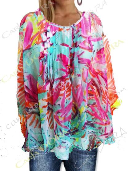 tunique femme voile tranparent multicolore motif palmier flamboyant, top femme tunique plage a la mode