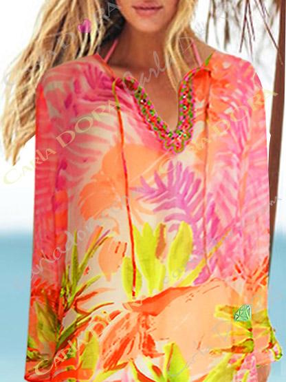 tunique femme voile leger corail rose et vert fluo, top femme tunique plage a la mode